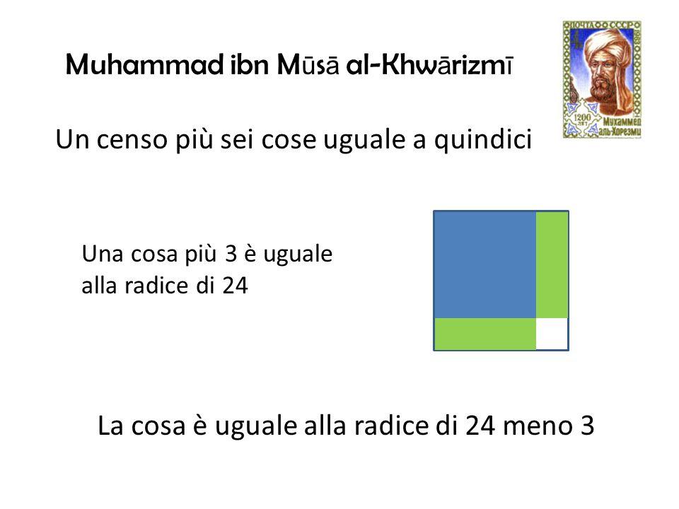 Una cosa più 3 è uguale alla radice di 24 La cosa è uguale alla radice di 24 meno 3 Un censo più sei cose uguale a quindici Muhammad ibn M ū s ā al-Khw ā rizm ī