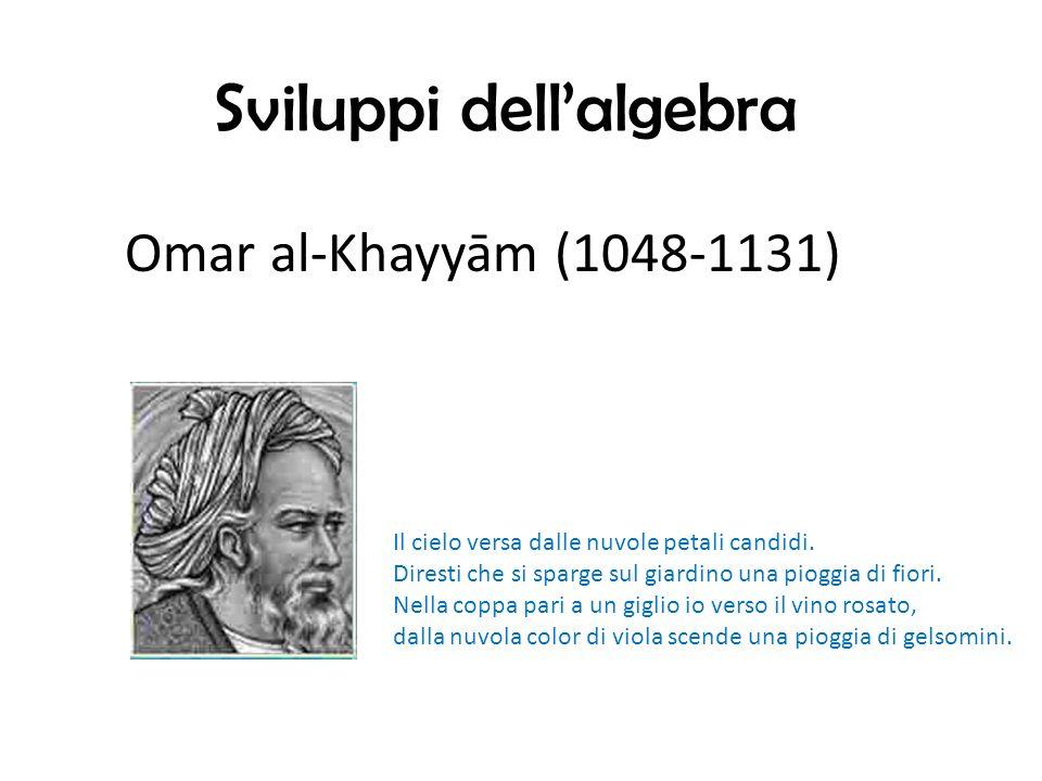 Sviluppi dellalgebra Omar al-Khayyām (1048-1131) Il cielo versa dalle nuvole petali candidi.