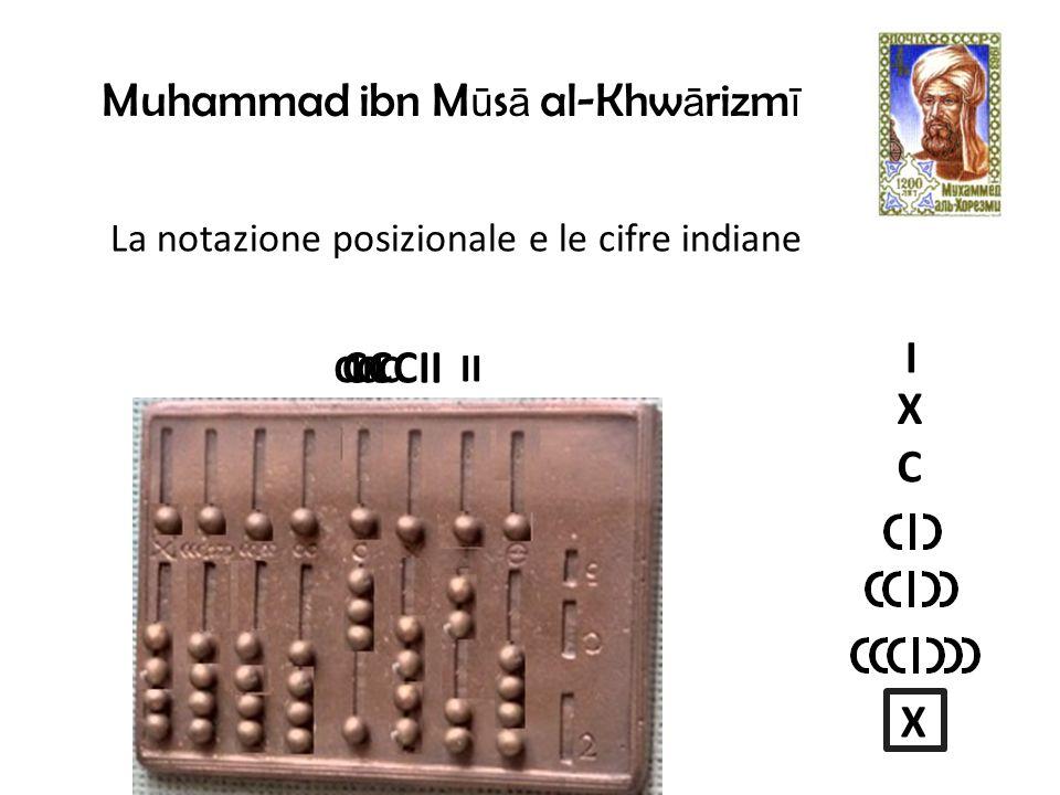 Muhammad ibn M ū s ā al-Khw ā rizm ī La notazione posizionale e le cifre indiane II CCCIII I X C X CCCII