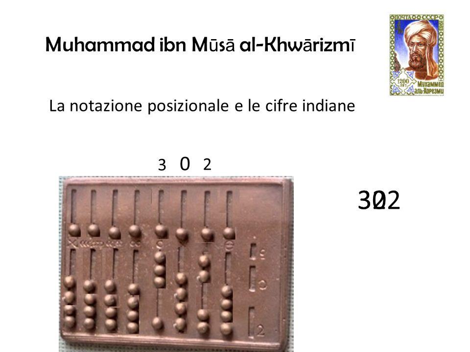 Muhammad ibn M ū s ā al-Khw ā rizm ī La notazione posizionale e le cifre indiane 2 3 32 0 302