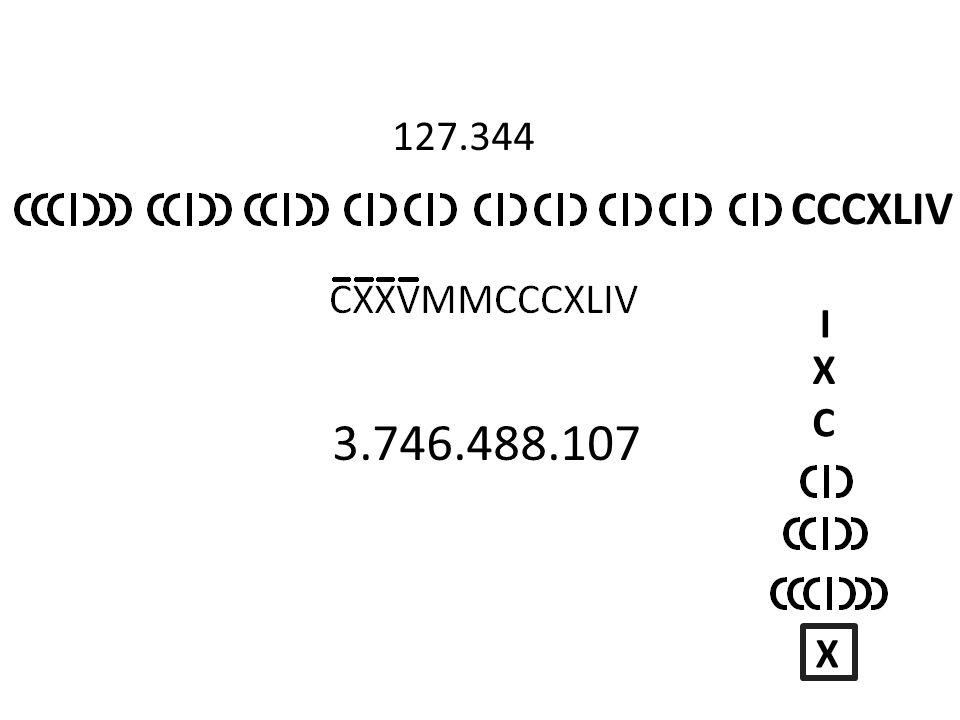 I X C X 127.344 CCCXLIV 3.746.488.107