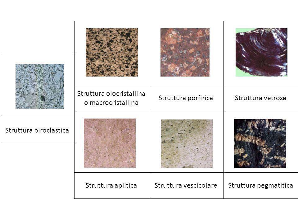 Struttura pegmatiticaStruttura vescicolareStruttura aplitica Struttura vetrosaStruttura porfirica Struttura olocristallina o macrocristallina Struttur