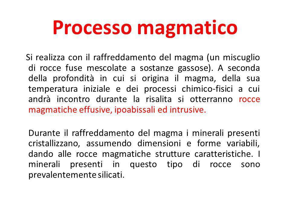 Processo magmatico Si realizza con il raffreddamento del magma (un miscuglio di rocce fuse mescolate a sostanze gassose). A seconda della profondità i