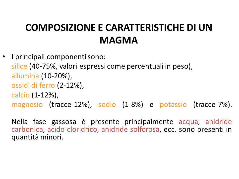 COMPOSIZIONE E CARATTERISTICHE DI UN MAGMA I principali componenti sono: silice (40-75%, valori espressi come percentuali in peso), allumina (10-20%),