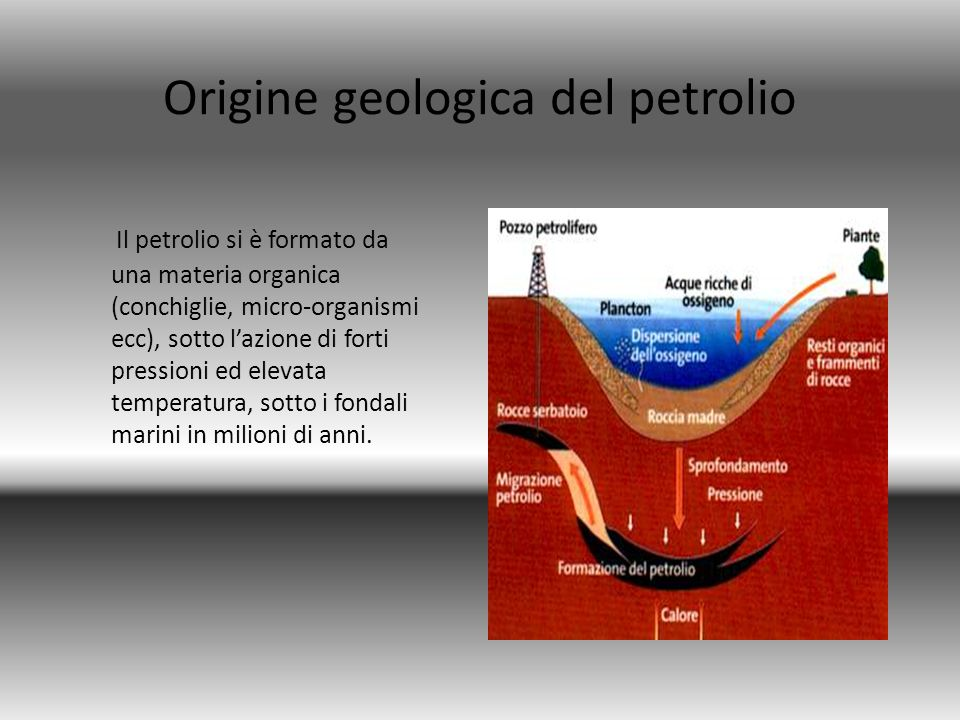 Il petrolio si è formato da una materia organica (conchiglie, micro-organismi ecc), sotto lazione di forti pressioni ed elevata temperatura, sotto i f
