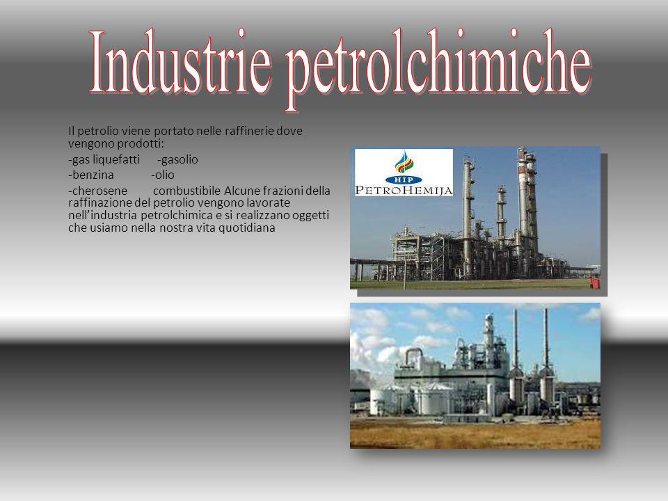 Il petrolio viene portato nelle raffinerie dove vengono prodotti: -gas liquefatti -gasolio -benzina -olio -cherosene combustibile Alcune frazioni dell