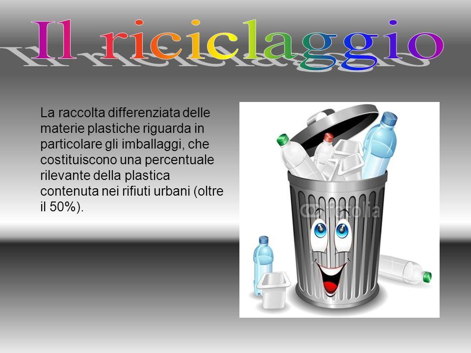 La raccolta differenziata delle materie plastiche riguarda in particolare gli imballaggi, che costituiscono una percentuale rilevante della plastica c