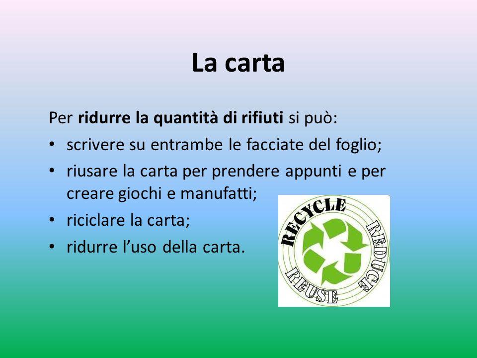 La carta Per ridurre la quantità di rifiuti si può: scrivere su entrambe le facciate del foglio; riusare la carta per prendere appunti e per creare gi