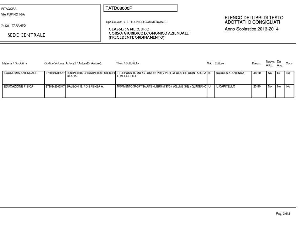 CLASSE: 5G MERCURIO CORSO: GIURIDICO ECONOMICO AZIENDALE (PRECEDENTE ORDINAMENTO) SEDE CENTRALE