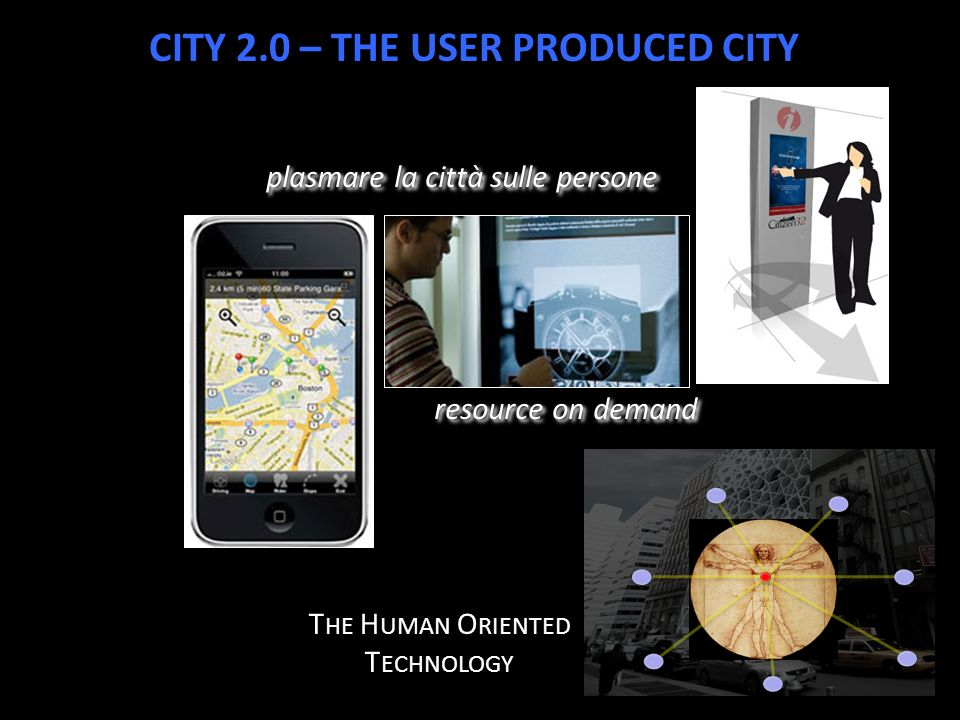 plasmare la città sulle persone resource on demand T HE H UMAN O RIENTED T ECHNOLOGY CITY 2.0 – THE USER PRODUCED CITY