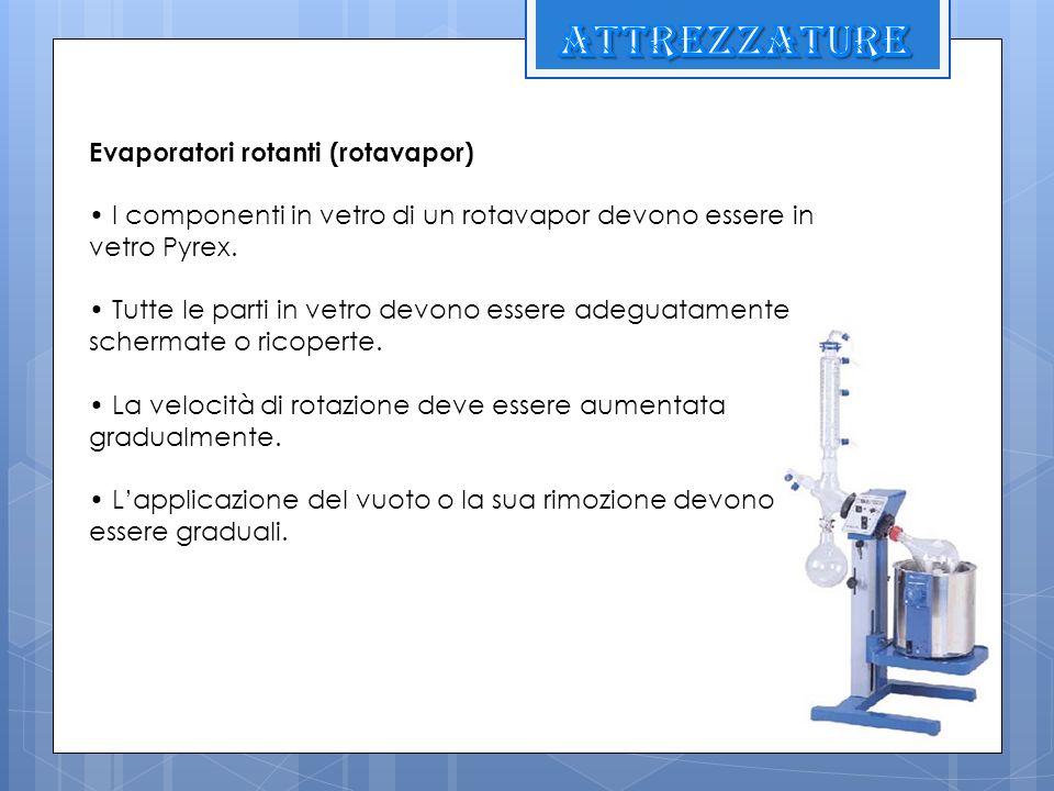 Evaporatori rotanti (rotavapor) I componenti in vetro di un rotavapor devono essere in vetro Pyrex. Tutte le parti in vetro devono essere adeguatament