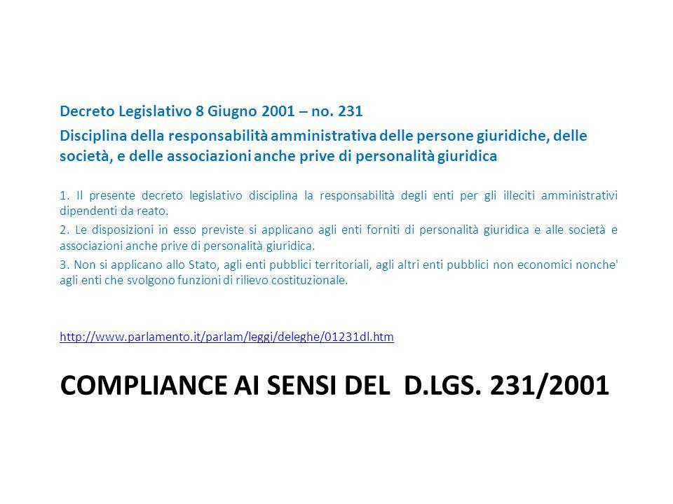COMPLIANCE AI SENSI DEL D.LGS. 231/2001 Decreto Legislativo 8 Giugno 2001 – no. 231 Disciplina della responsabilità amministrativa delle persone giuri
