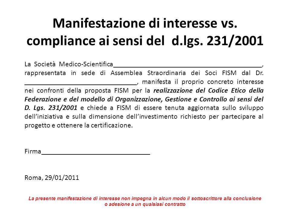 Manifestazione di interesse vs. compliance ai sensi del d.lgs. 231/2001 La Società Medico-Scientifica_________________________________________, rappre