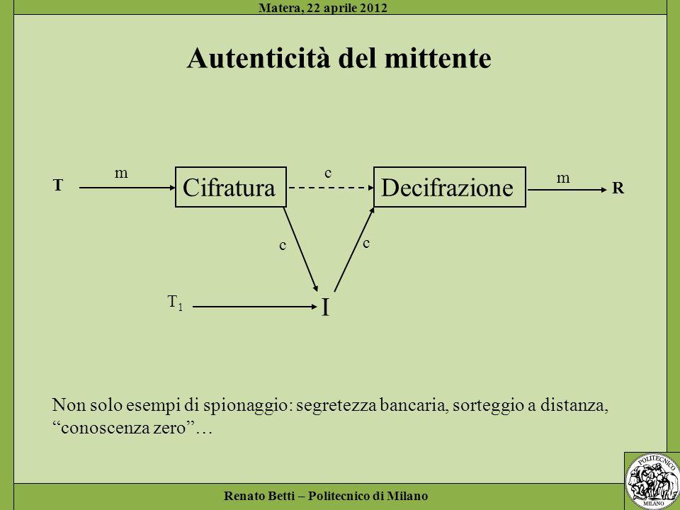 Renato Betti – Politecnico di Milano Matera, 22 aprile 2012 Autenticità del mittente CifraturaDecifrazione T R mc m I c c T1T1 Non solo esempi di spio