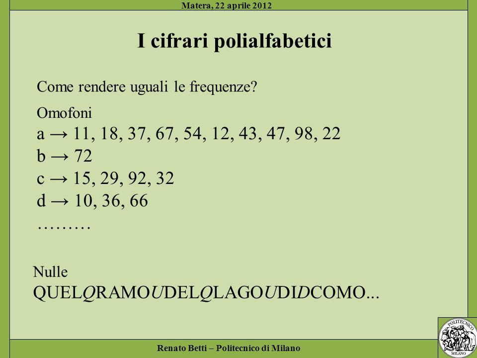 Renato Betti – Politecnico di Milano Matera, 22 aprile 2012 I cifrari polialfabetici Come rendere uguali le frequenze? Omofoni a 11, 18, 37, 67, 54, 1