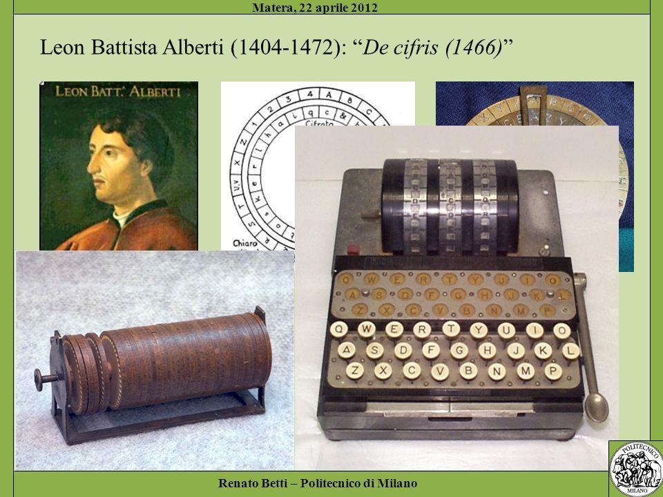 Renato Betti – Politecnico di Milano Matera, 22 aprile 2012 Leon Battista Alberti (1404-1472): De cifris (1466)