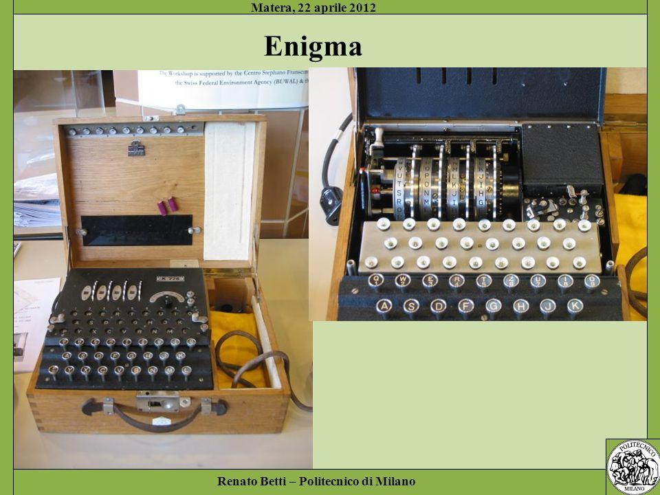 Renato Betti – Politecnico di Milano Matera, 22 aprile 2012 Enigma