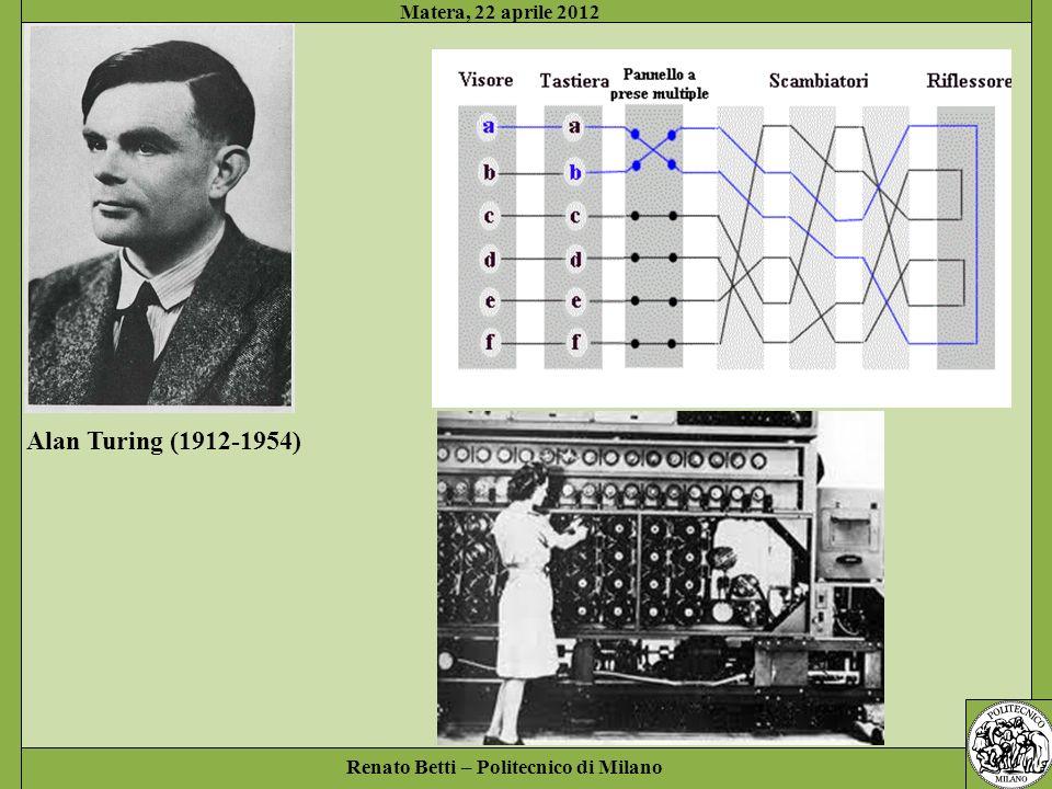 Renato Betti – Politecnico di Milano Matera, 22 aprile 2012 Alan Turing (1912-1954)