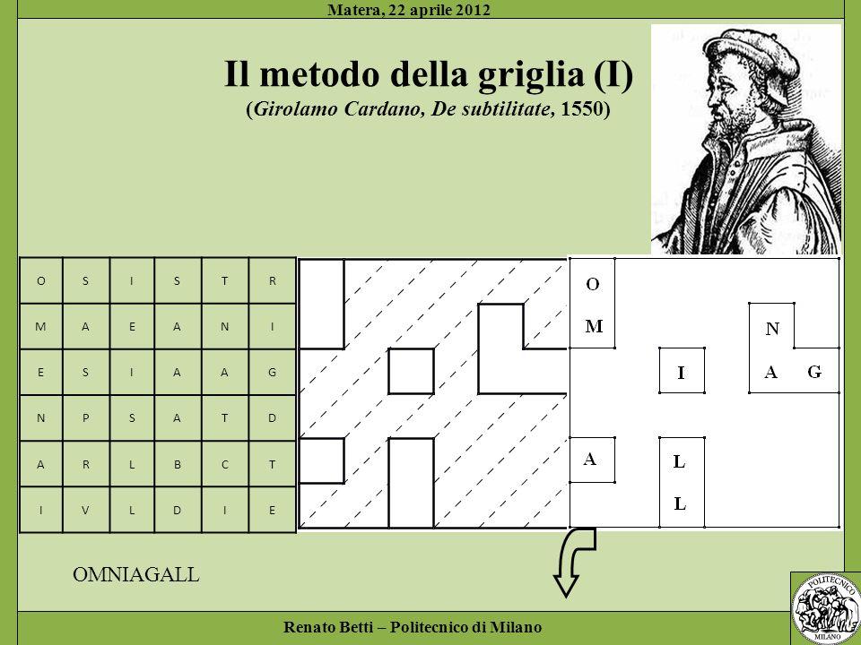 Renato Betti – Politecnico di Milano Matera, 22 aprile 2012 OSISTR MAEANI ESIAAG NPSATD ARLBCT IVLDIE OMNIAGALL IAESTDIVI Il metodo della griglia (II)