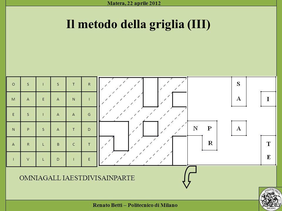 Renato Betti – Politecnico di Milano Matera, 22 aprile 2012 OSISTR MAEANI ESIAAG NPSATD ARLBCT IVLDIE Il metodo della griglia (III) SAINPARTE OMNIAGALL IAESTDIVI