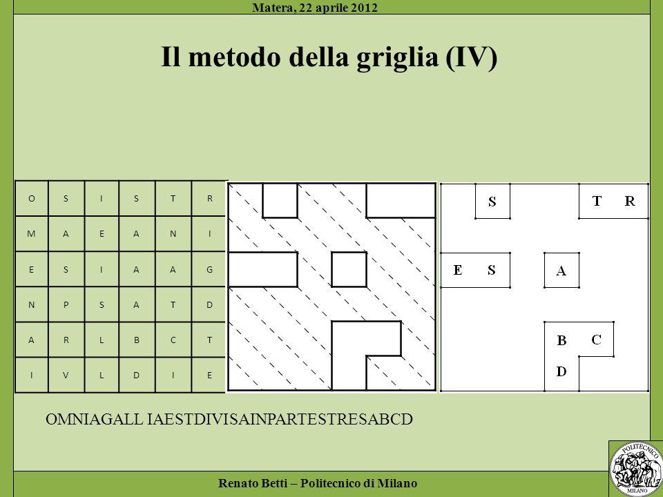 Renato Betti – Politecnico di Milano Matera, 22 aprile 2012 OSISTR MAEANI ESIAAG NPSATD ARLBCT IVLDIE Il metodo della griglia (IV) STRESABCD SAINPARTE OMNIAGALL IAESTDIVI