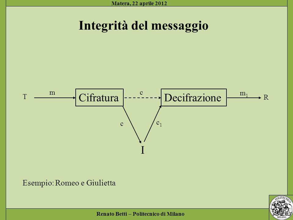 Renato Betti – Politecnico di Milano Matera, 22 aprile 2012 Bibliografia A.Sgarro, Crittografia, Muzzio 1985 L.