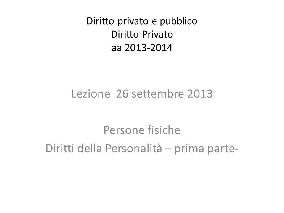 Diritto privato e pubblico Diritto Privato aa 2013-2014 Lezione 26 settembre 2013 Persone fisiche Diritti della Personalità – prima parte-