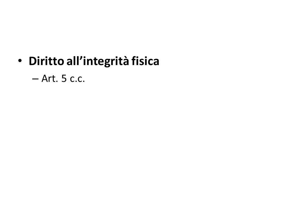 Diritto allintegrità fisica – Art. 5 c.c.