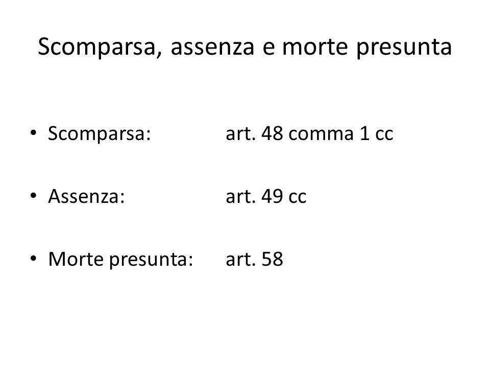Scomparsa, assenza e morte presunta Scomparsa: art. 48 comma 1 cc Assenza: art. 49 cc Morte presunta: art. 58