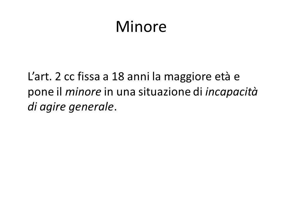 Minore Lart. 2 cc fissa a 18 anni la maggiore età e pone il minore in una situazione di incapacità di agire generale.
