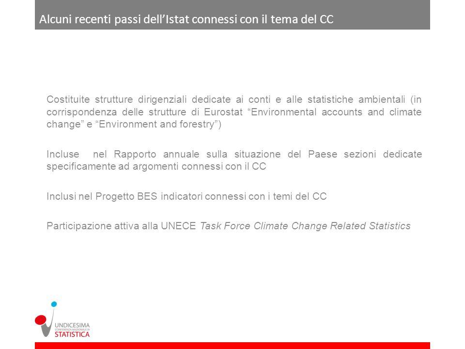 Alcuni recenti passi dellIstat connessi con il tema del CC Costituite strutture dirigenziali dedicate ai conti e alle statistiche ambientali (in corri