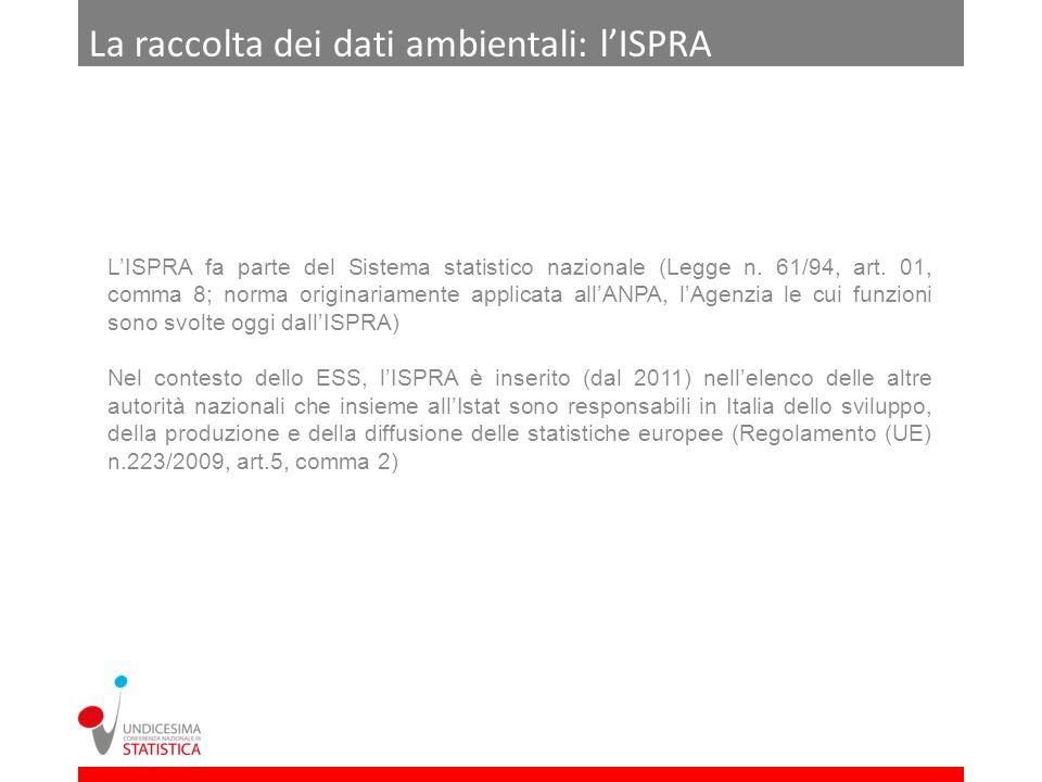La raccolta dei dati ambientali: lISPRA LISPRA fa parte del Sistema statistico nazionale (Legge n. 61/94, art. 01, comma 8; norma originariamente appl