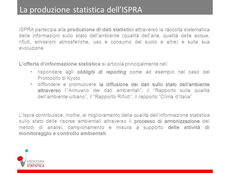 La produzione statistica dellISPRA ISPRA partecipa alla produzione di dati statistici attraverso la raccolta sistematica delle informazioni sullo stat
