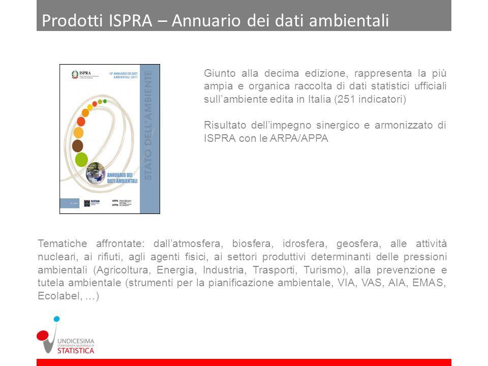 Prodotti ISPRA – Annuario dei dati ambientali Giunto alla decima edizione, rappresenta la più ampia e organica raccolta di dati statistici ufficiali s