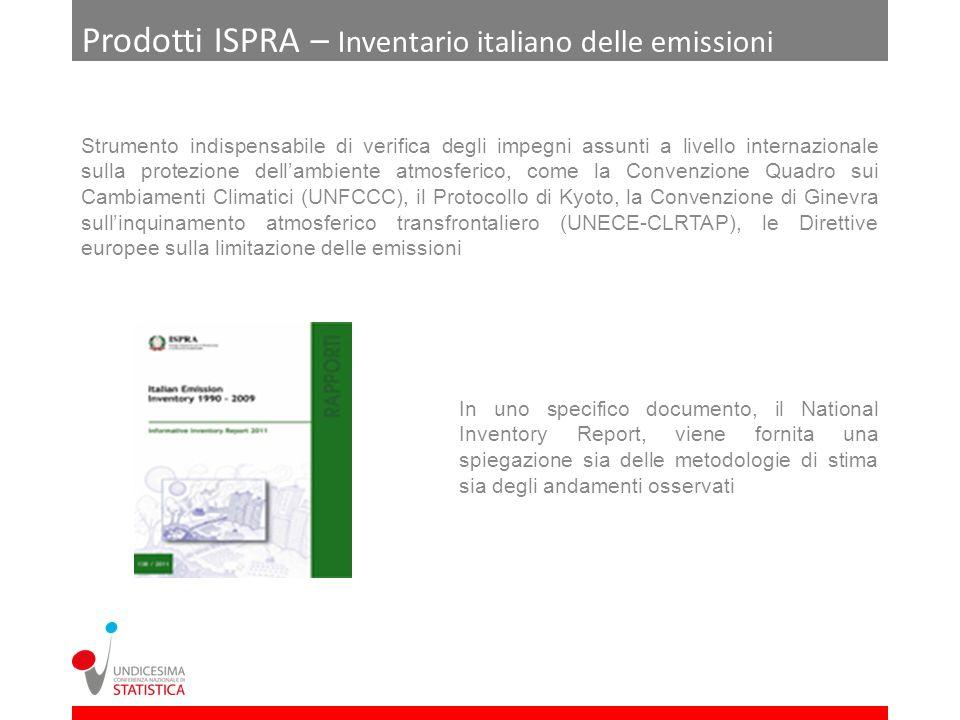 Prodotti ISPRA – Inventario italiano delle emissioni Strumento indispensabile di verifica degli impegni assunti a livello internazionale sulla protezi