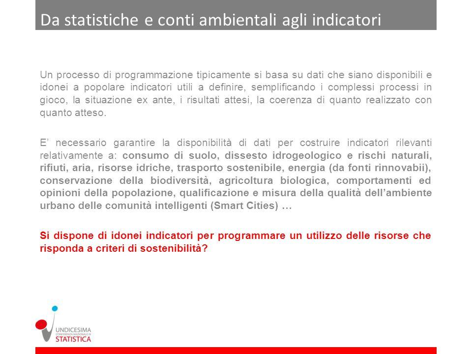 Da statistiche e conti ambientali agli indicatori Un processo di programmazione tipicamente si basa su dati che siano disponibili e idonei a popolare