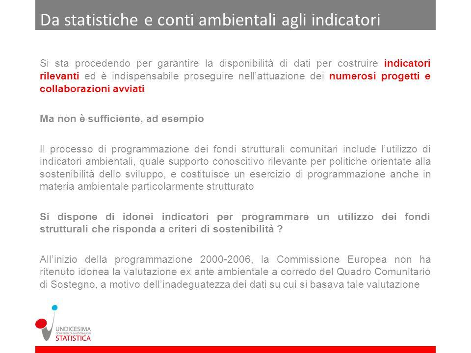 Da statistiche e conti ambientali agli indicatori Si sta procedendo per garantire la disponibilità di dati per costruire indicatori rilevanti ed è ind
