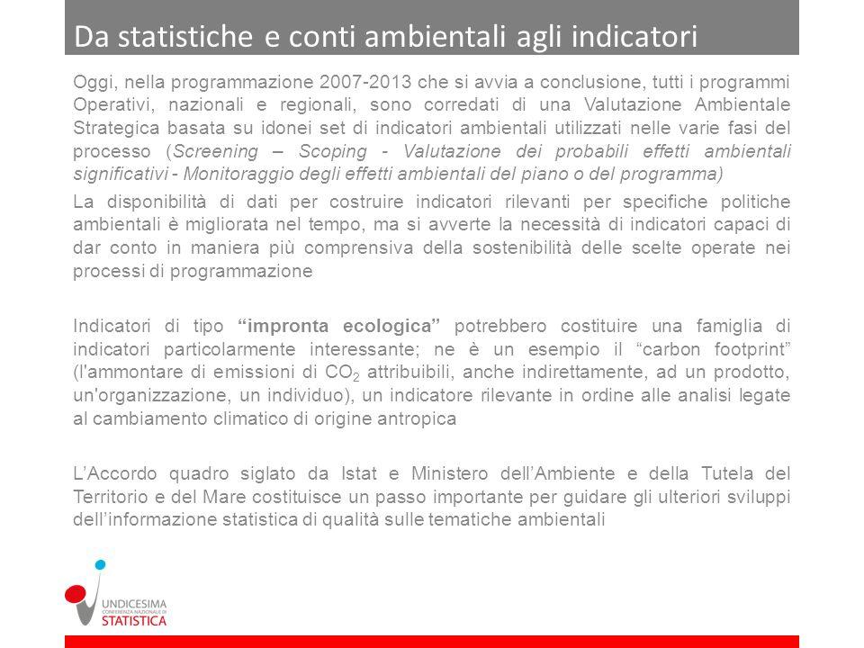 Da statistiche e conti ambientali agli indicatori Oggi, nella programmazione 2007-2013 che si avvia a conclusione, tutti i programmi Operativi, nazion