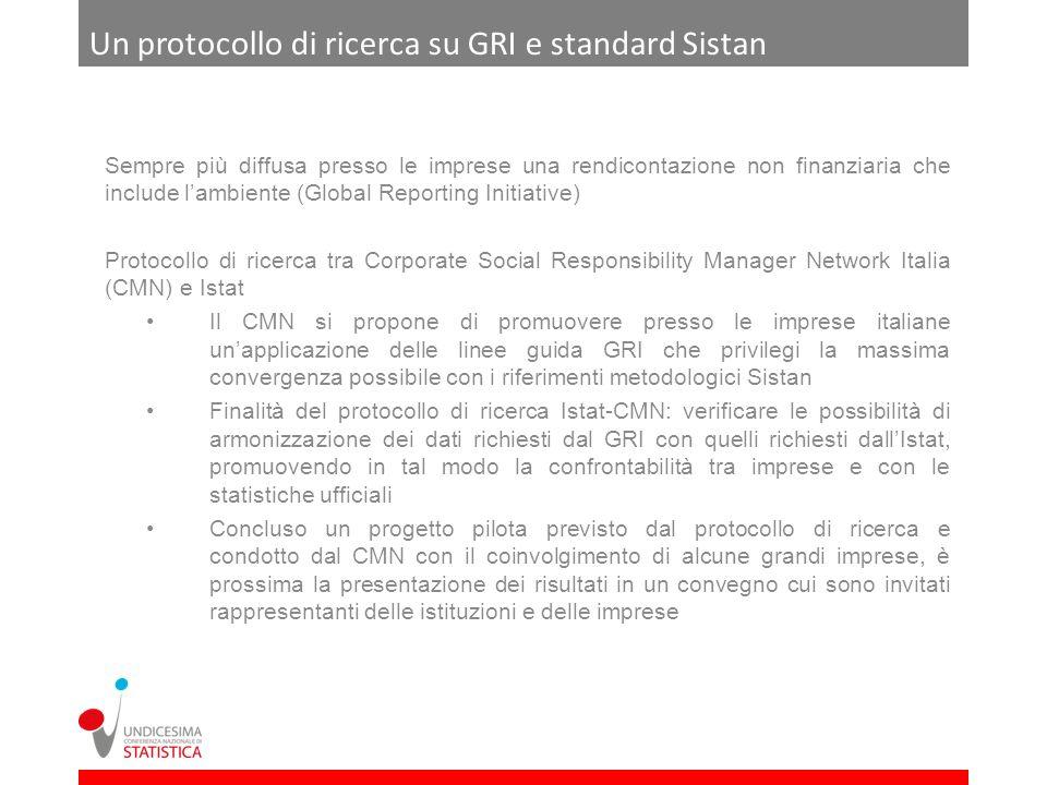 Un protocollo di ricerca su GRI e standard Sistan Sempre più diffusa presso le imprese una rendicontazione non finanziaria che include lambiente (Glob