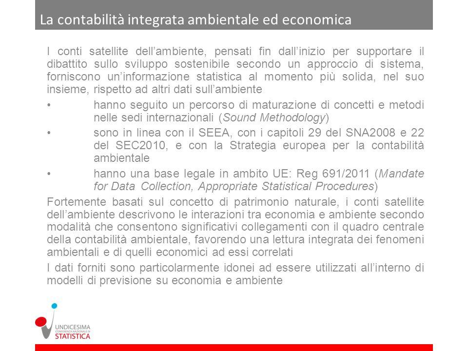 I conti ambientali dellIstat I principali aggregati attualmente prodotti in Istat su base regolare sono oggetto del Regolamento 691/2011 e riguardano emissioni atmosferiche(Annex I del Regolamento) imposte ambientali(Annex II) flussi di materia(Annex III) con lultimo trimestre di questanno inizia la trasmissione obbligatoria dei dati a Eurostat Ulteriori conti in linea con lestensione in atto del Regolamento 691/2011 sono in corso di sviluppo; gli aggregati da stimare riguardano spese ambientali(Annex IV) settore eco-industrie(Annex V) flussi fisici di energia(Annex VI) Si sta inoltre esplorando la possibilità di stime now-casting di aggregati dei conti ambientali di momenti diffusione congiunta con gli aggregati del quadro centrale della contabilità nazionale