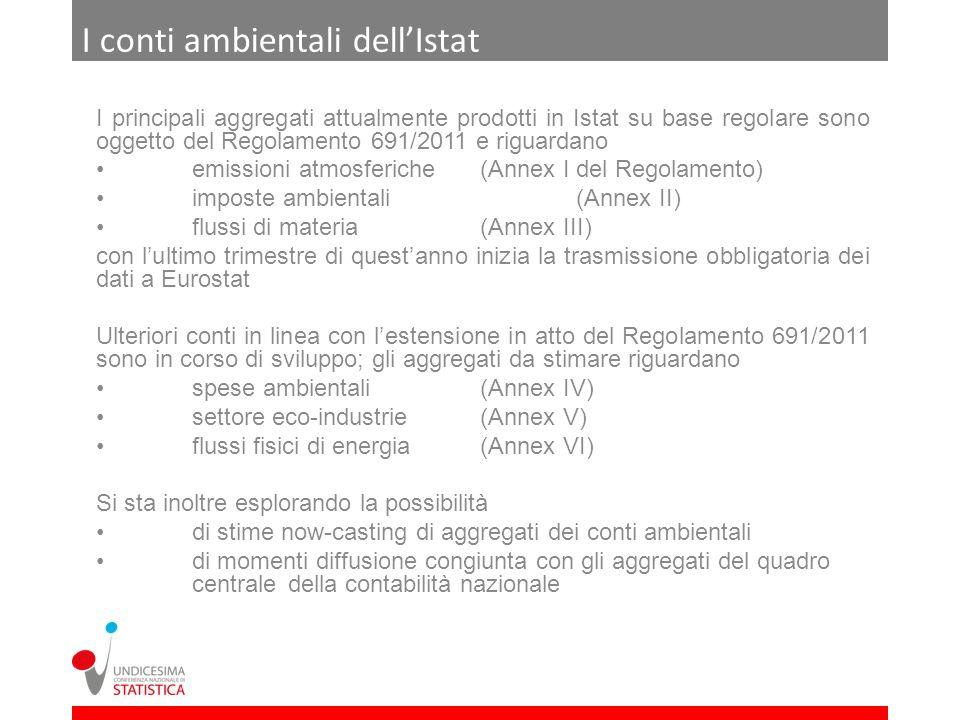 I conti ambientali dellIstat I principali aggregati attualmente prodotti in Istat su base regolare sono oggetto del Regolamento 691/2011 e riguardano