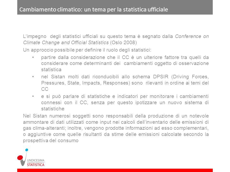 Cambiamento climatico: un tema per la statistica ufficiale Limpegno degli statistici ufficiali su questo tema è segnato dalla Conference on Climate Ch