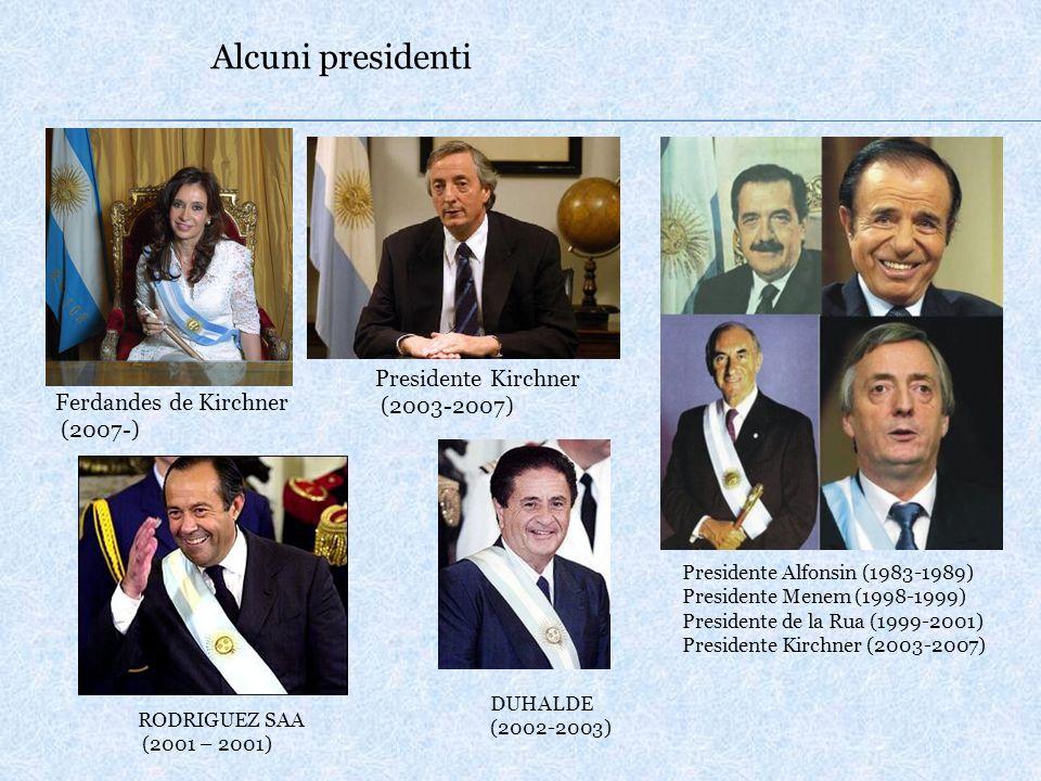Alcuni presidenti Presidente Alfonsin (1983-1989) Presidente Menem (1998-1999) Presidente de la Rua (1999-2001) Presidente Kirchner (2003-2007) RODRIGUEZ SAA (2001 – 2001) DUHALDE (2002-2003) Presidente Kirchner (2003-2007) Ferdandes de Kirchner (2007-)