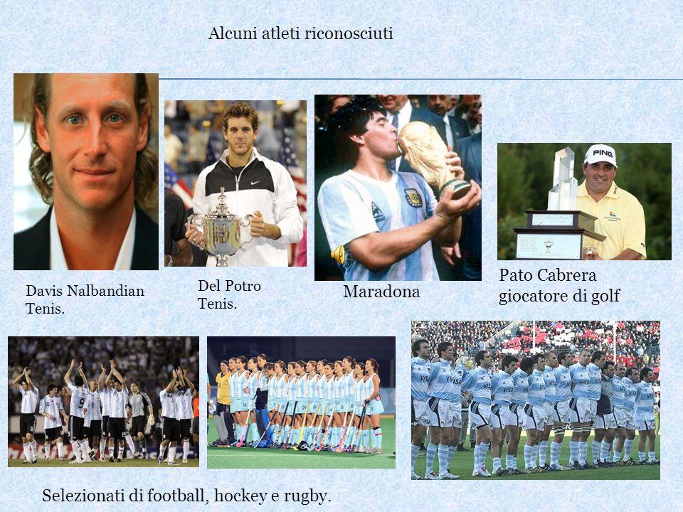 Alcuni atleti riconosciuti Selezionati di football, hockey e rugby. Pato Cabrera giocatore di golf Maradona Davis Nalbandian Tenis. Del Potro Tenis.