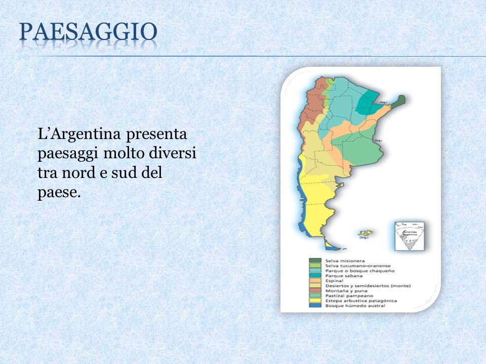 LArgentina presenta paesaggi molto diversi tra nord e sud del paese.