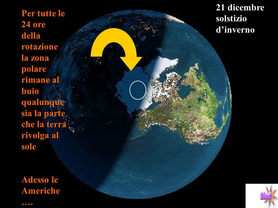 Ai poli, destate il sole non tramonta, e si ha il cosiddetto sole di mezzanotte, ed, al contrario, dinverno, non sorge. 21 dicembre ore 12\24 Polo nor
