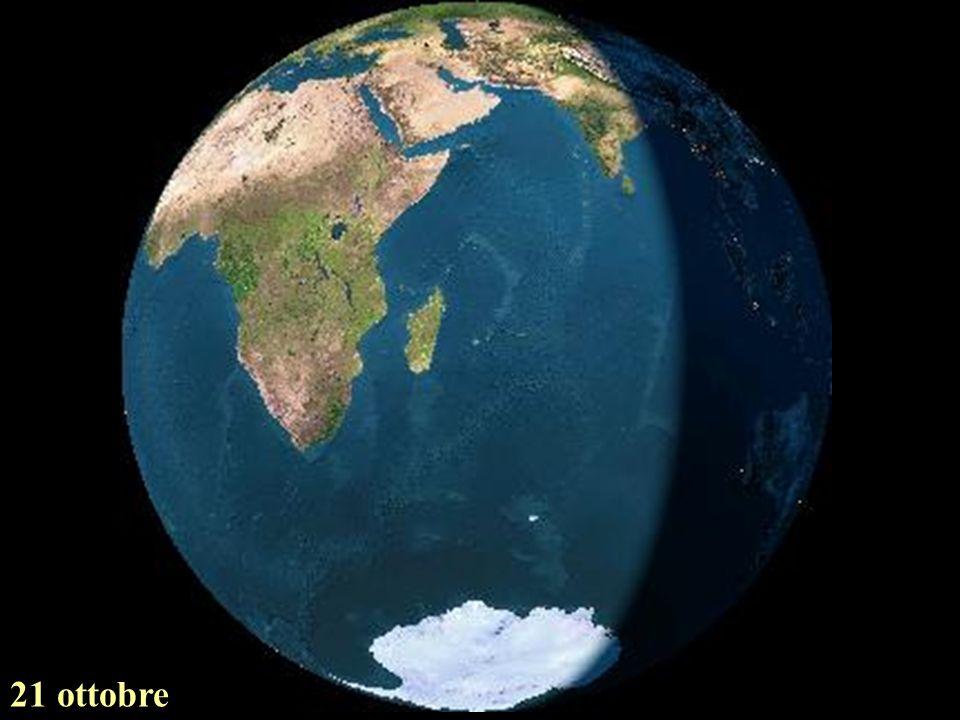 La terra vista dalla luna nel corso delle stagioni