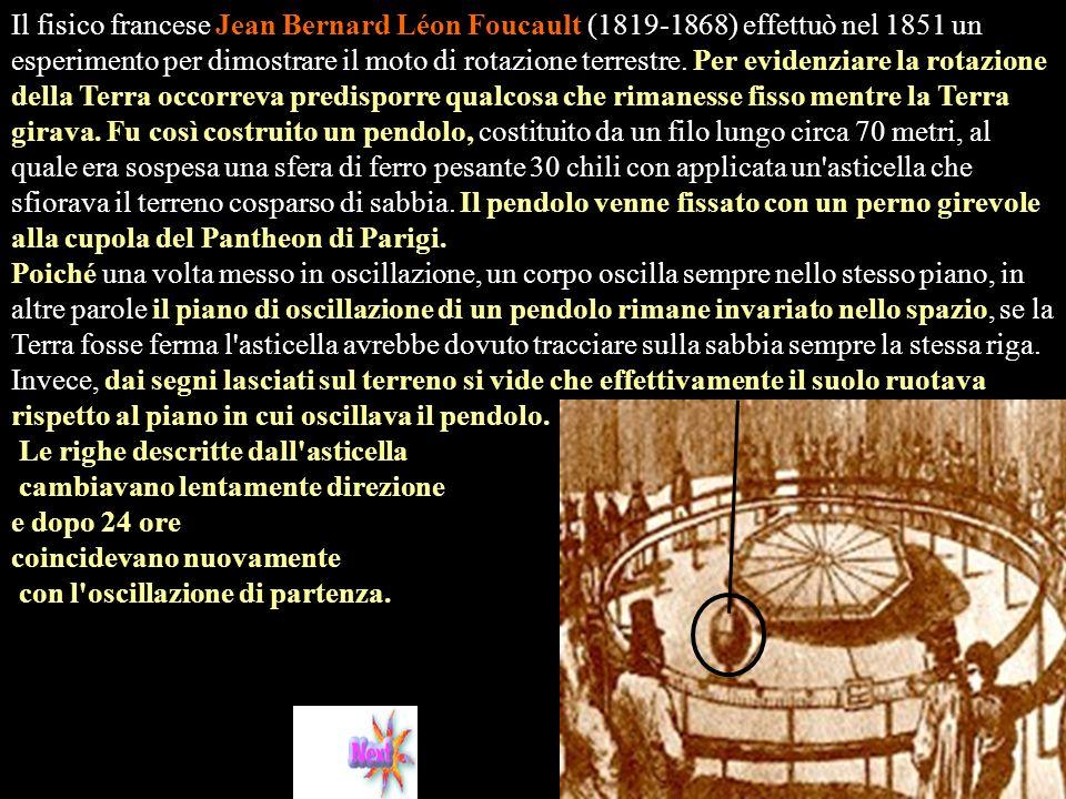 Il fisico francese Jean Bernard Léon Foucault (1819-1868) effettuò nel 1851 un esperimento per dimostrare il moto di rotazione terrestre.
