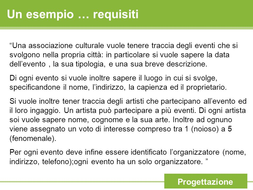 Una associazione culturale vuole tenere traccia degli eventi che si svolgono nella propria città: in particolare si vuole sapere la data dellevento, l