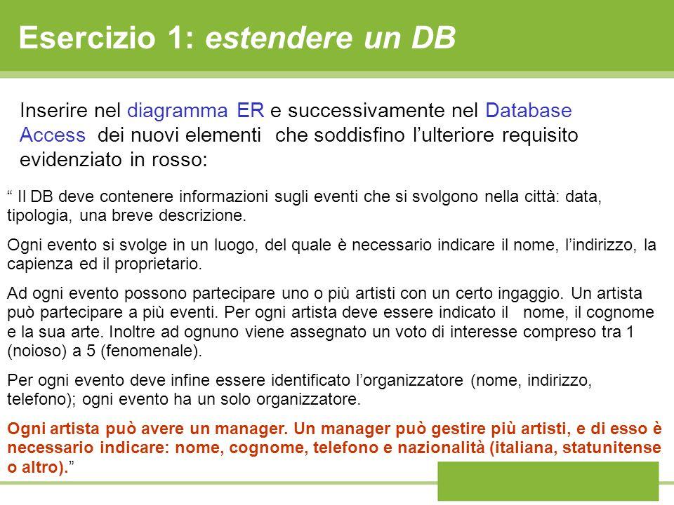 Esercizio 1: estendere un DB Il DB deve contenere informazioni sugli eventi che si svolgono nella città: data, tipologia, una breve descrizione. Ogni